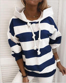 Luwos: Striped Hooded Drawstring Hoodies - Shop Women's T-shirts, blouses, Leggings & Trousers online - Luwos