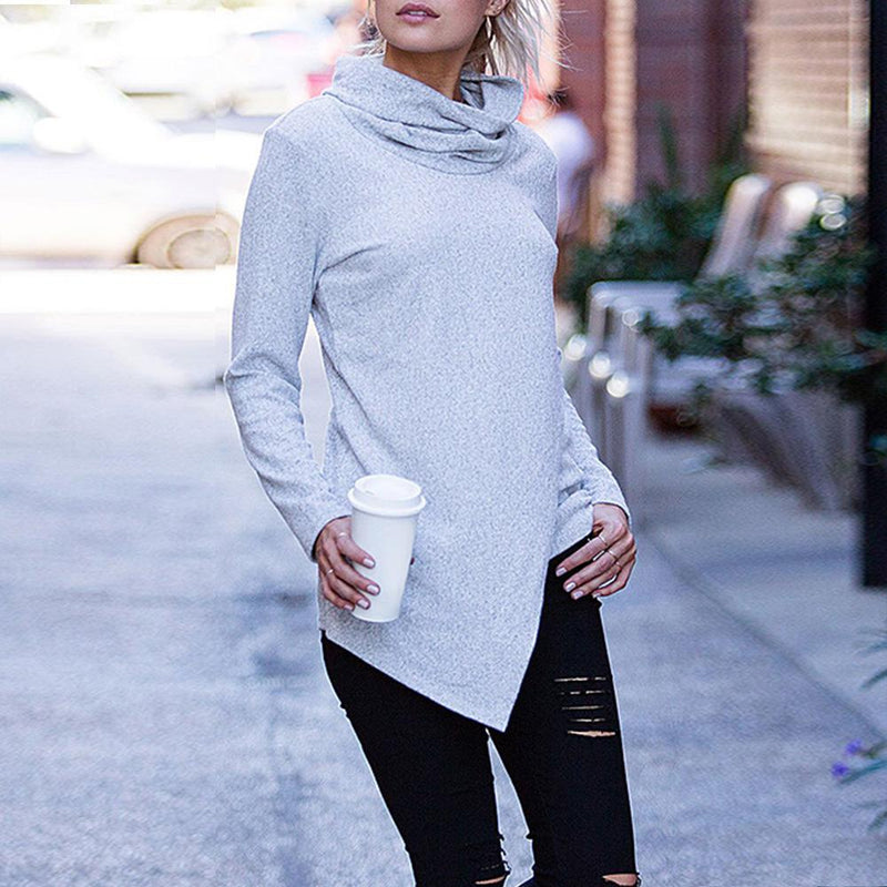Women Casual Solid Long Sleeve Turtleneck - Shop Women's T-shirts, blouses, Leggings & Trousers online - Luwos