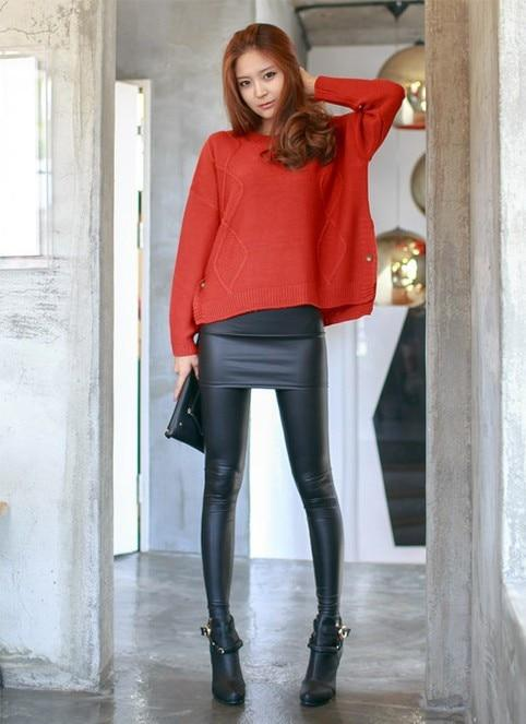 Luwos:Leather Skirt Leggings Women's Sexy Pencil Pants - Shop Women's T-shirts, blouses, Leggings & Trousers online - Luwos