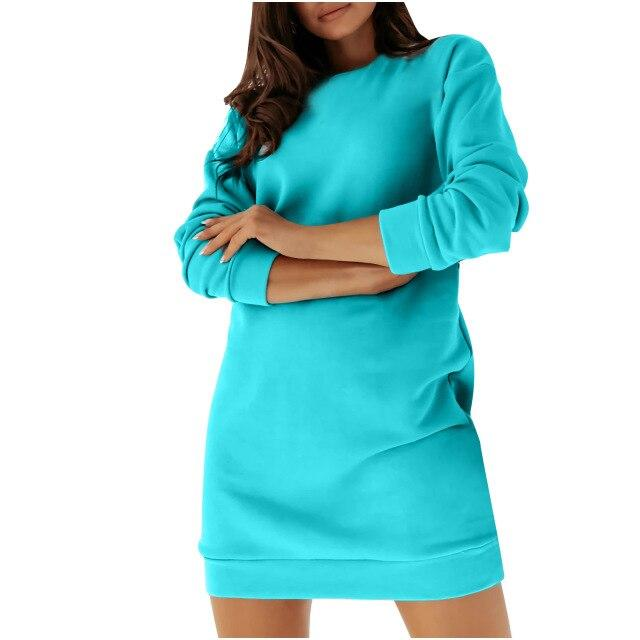 Luwos:  Women Dress Casual Solid Color Long Sleeve Sweatshirt Pullover - Shop Women's T-shirts, blouses, Leggings & Trousers online - Luwos