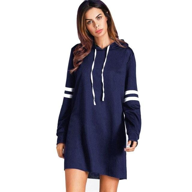 Dress Striped Long Sleeve Hoodie Casual Long Sweatshirt - Shop Women's T-shirts, blouses, Leggings & Trousers online - Luwos