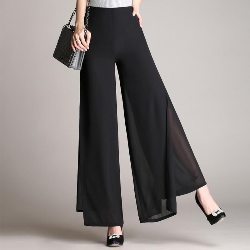 Luwos: Female Wide Leg Pants  High Waist Double Layers - Shop Women's T-shirts, blouses, Leggings & Trousers online - Luwos
