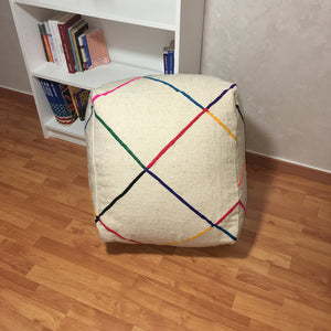 Vintage Beni Ourain Colorful Wool Pouf - Moroccan Interior