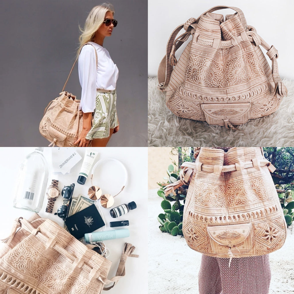 Moroccan Bohemian Leather Shoulder Bag Light Tan - Moroccan Interior