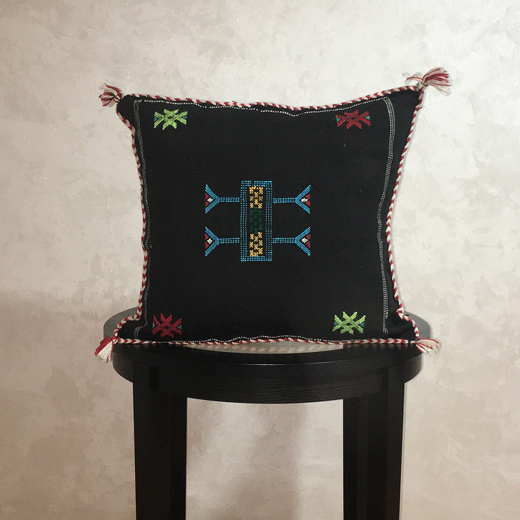 Cactus Silk Moroccan Sabra Pillow Cover Black Colorful - Moroccan Interior