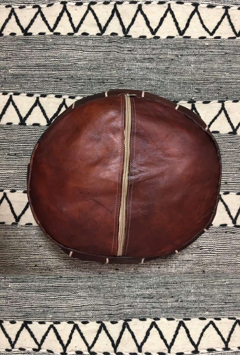 Moroccan Round Leather Pouf Dark Chocolate - Moroccan Interior