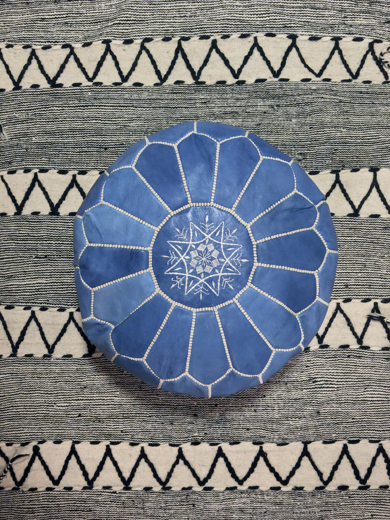 Moroccan Round Leather Pouf Blue Jean - Moroccan Interior