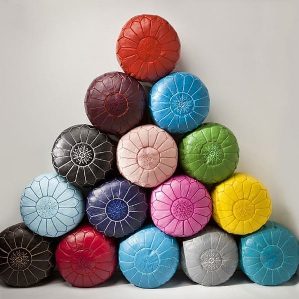 Moroccan Colorful Round Leather Pouf - Moroccan Interior