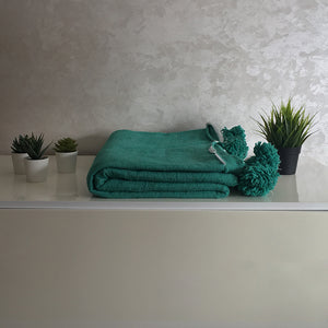Moroccan Pompom Blanket/Bed Throw, Green - Moroccan Interior