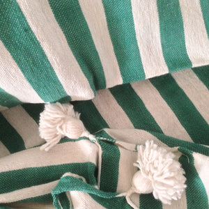 Moroccan Pompom Blanket/Bed Throw, Green Stripes - Moroccan Interior