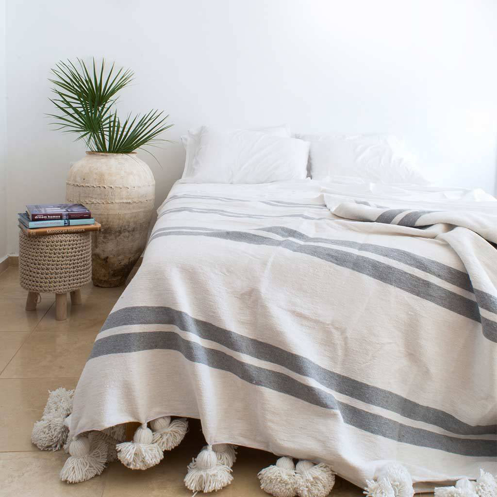 Moroccan Pompom Blanket/Bed Throw, Gray Stripes - Moroccan Interior