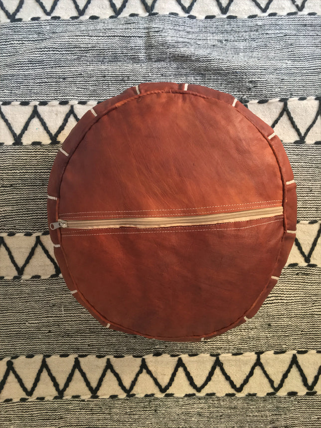 Moroccan Round Leather Pouf Dark Tan - Moroccan Interior