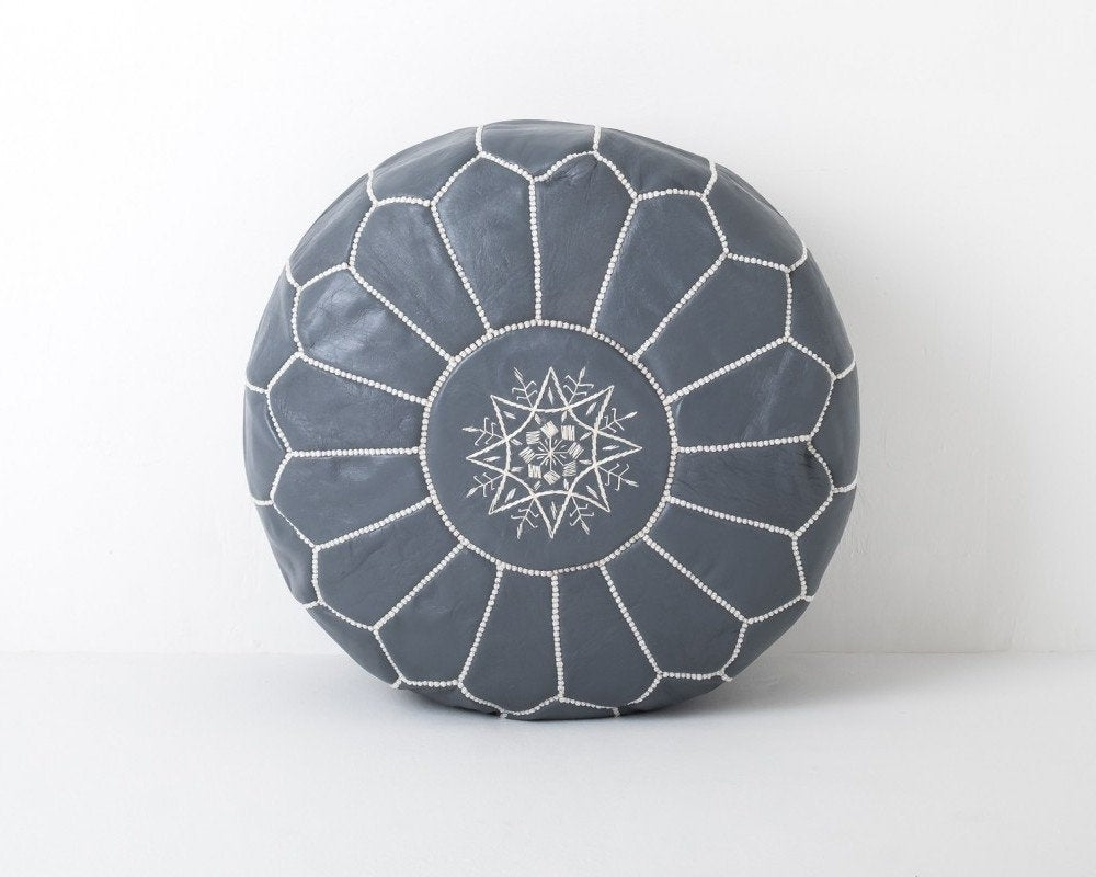 Moroccan Round leather Pouf Grey - Moroccan Interior
