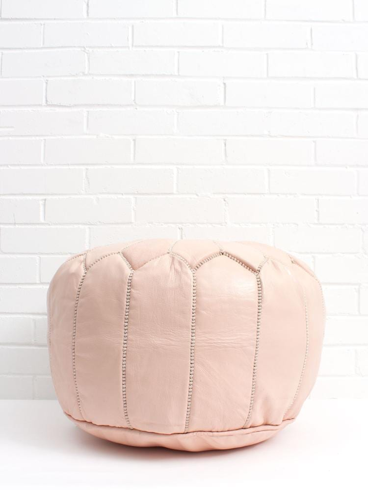 Moroccan Round Leather Pouf Nude - Moroccan Interior