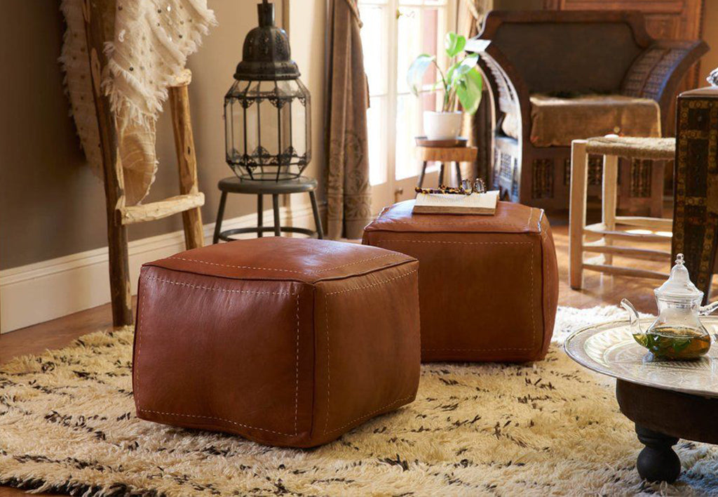 Moroccan Square Leather Pouf - Set Of Two - Moroccan Interior