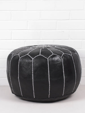 Moroccan Round Leather Pouf Black - Moroccan Interior