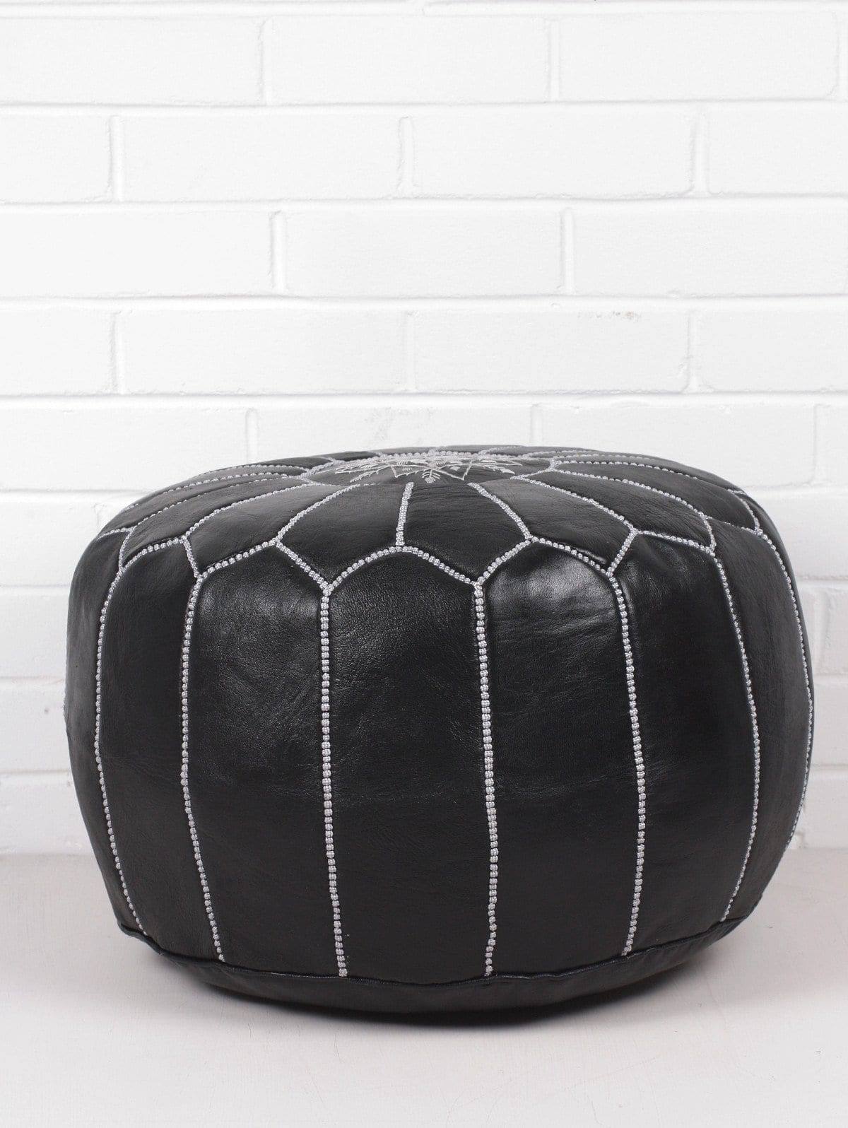 Moroccan Round Leather Pouf Black - Set of Two - Moroccan Interior