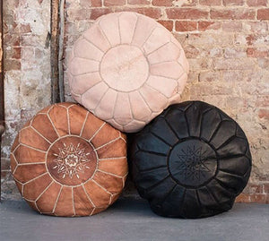 Moroccan Round Leather Pouf Set of Three - Moroccan Interior