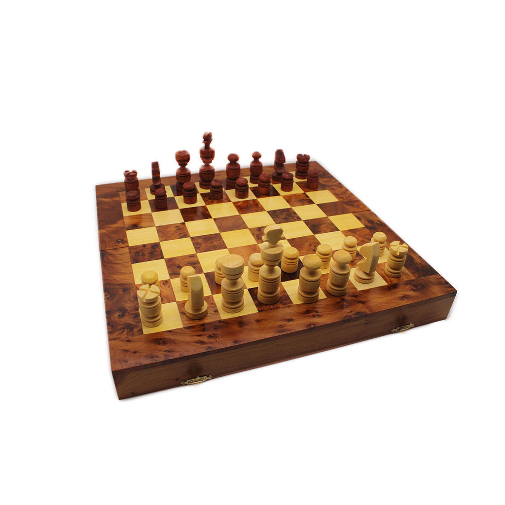 Moroccan Handcrafted Thuya Wood Box with Chess Set Game+Gift