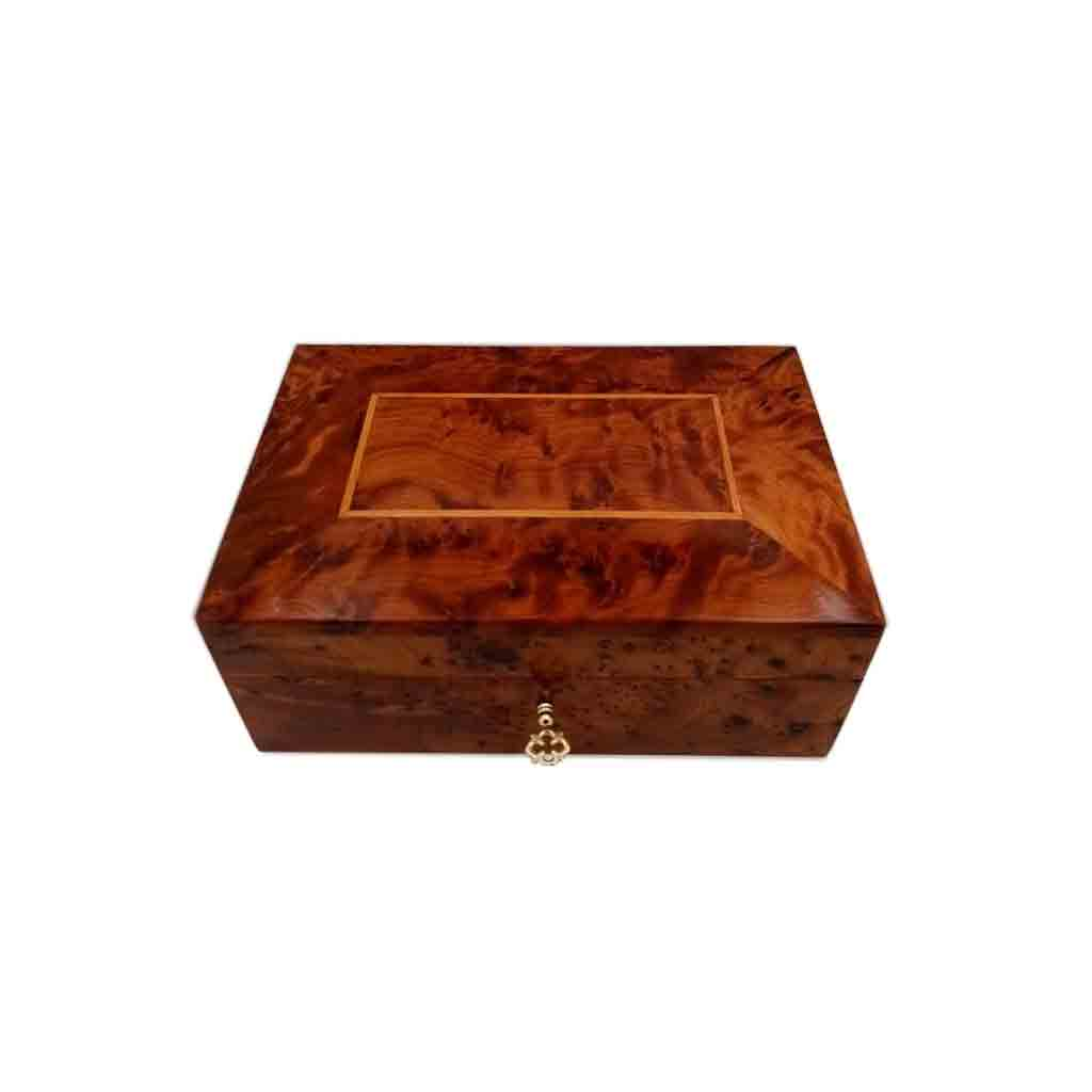 Moroccan Thuya Wood Lockable Jewelry Box - Moroccan Interior