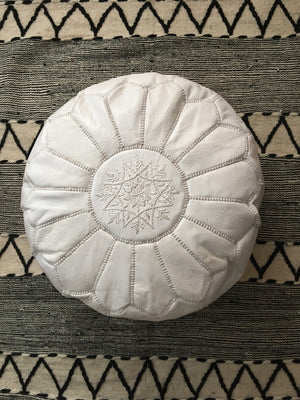 Moroccan Round Leather Pouf - Set of Two - Moroccan Interior