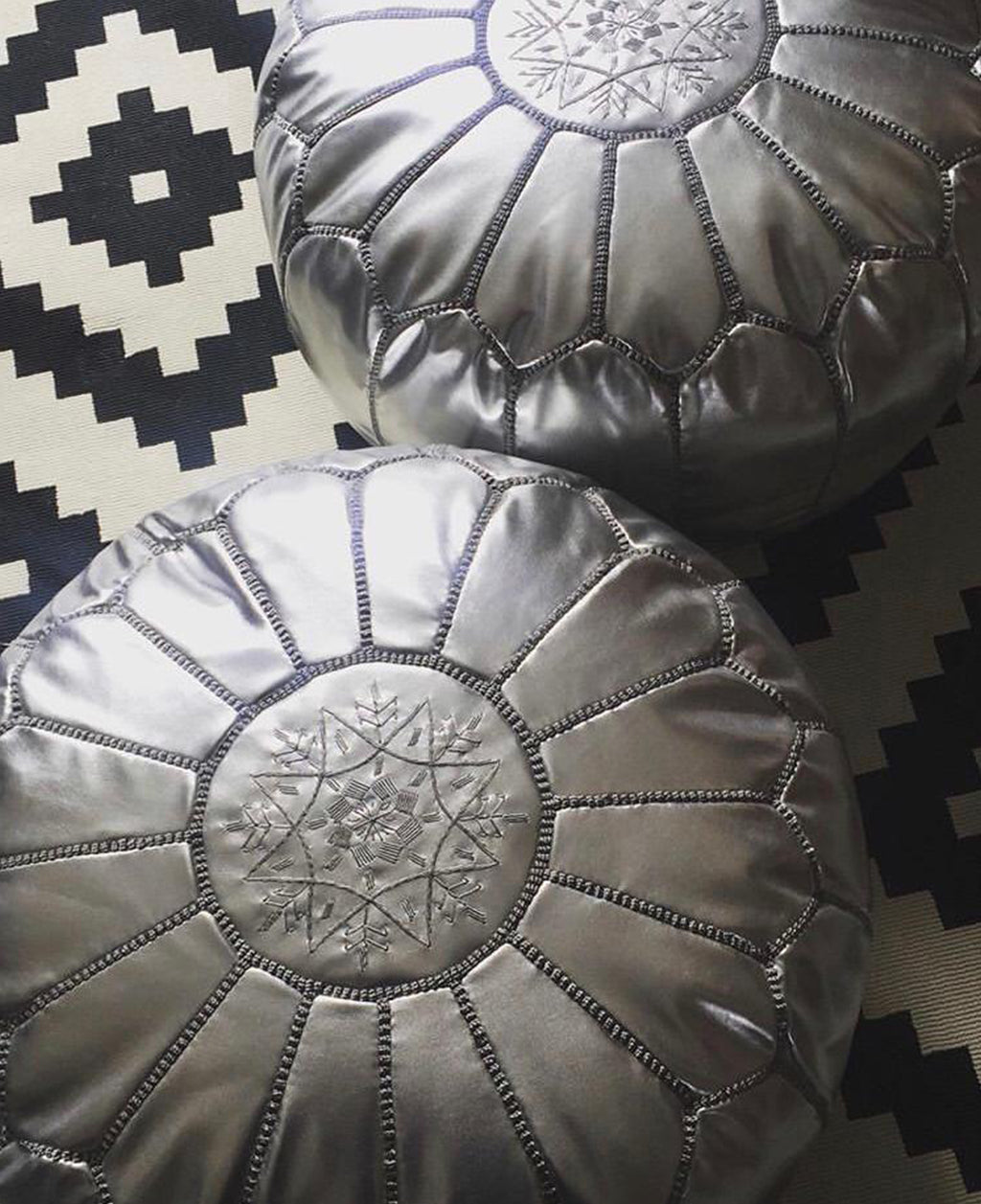Moroccan Round Leather Pouf Gold and Silver - Moroccan Interior