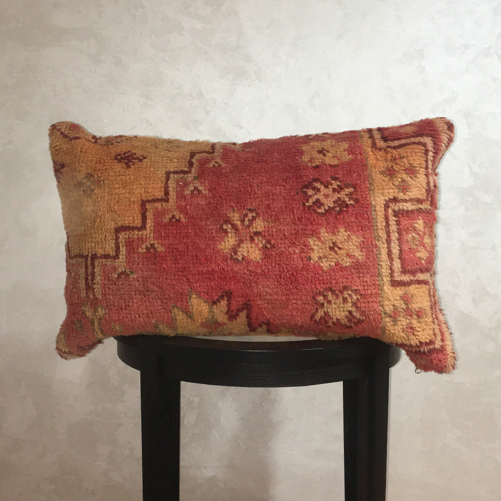 "Vintage Moroccan Wool Pillow, Berber Cushion Cover Red Orange 16""x27"" - Moroccan Interior"