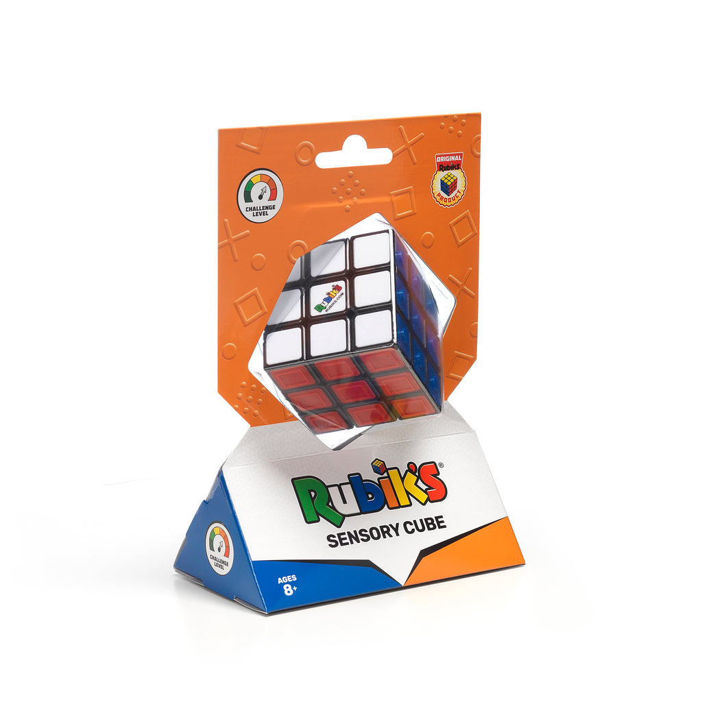 Rubik's Sensory Cube in hanging base