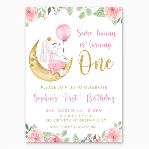 Watercolor Bunny First Birthday Invitation for Girls