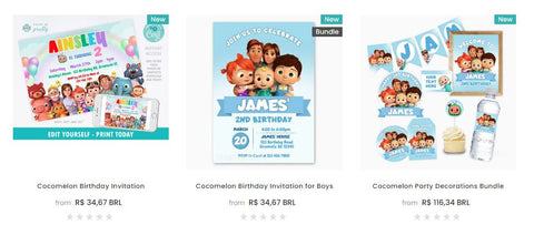 Cocomelon birthday invitation and party printables