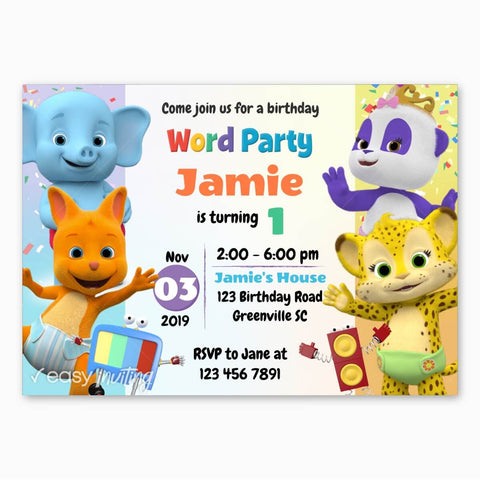 Word Party Birthday Invitation for Girls
