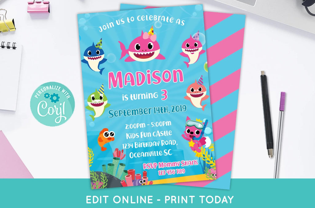Baby Shark Birthday Invitation for Girls - Print Me Pretty