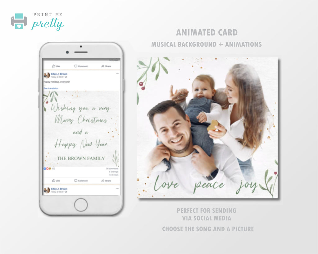 Christmas Electronic Card for Social Media - Print Me Pretty