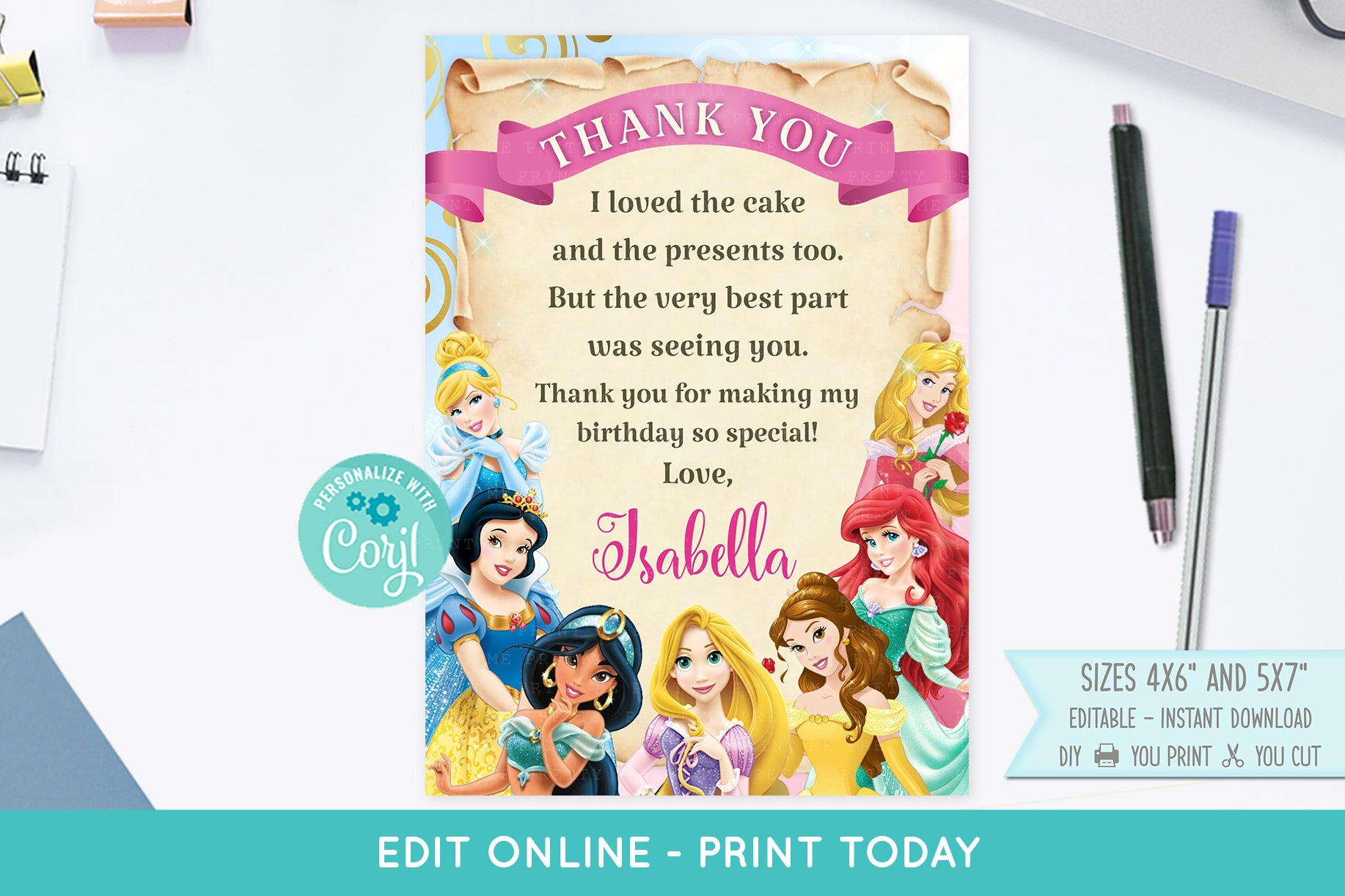 Disney Princess Thank You Card - Print Me Pretty