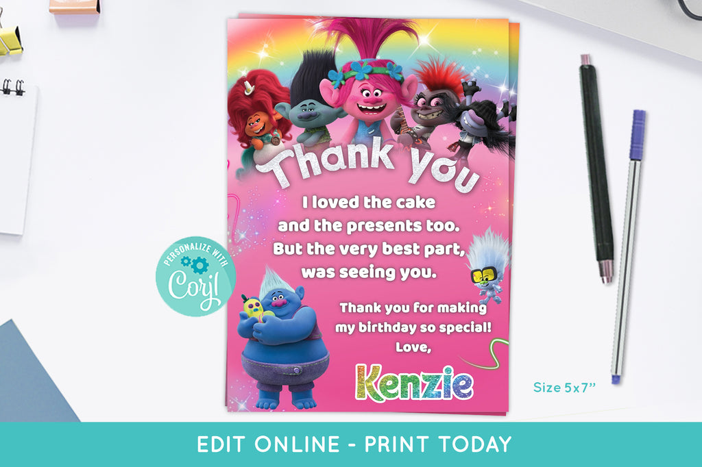 Trolls 2 World Tour Thank You Card - Print Me Pretty