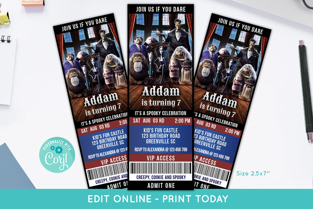 Addams Family Movie Ticket Birthday Invitation - Print Me Pretty