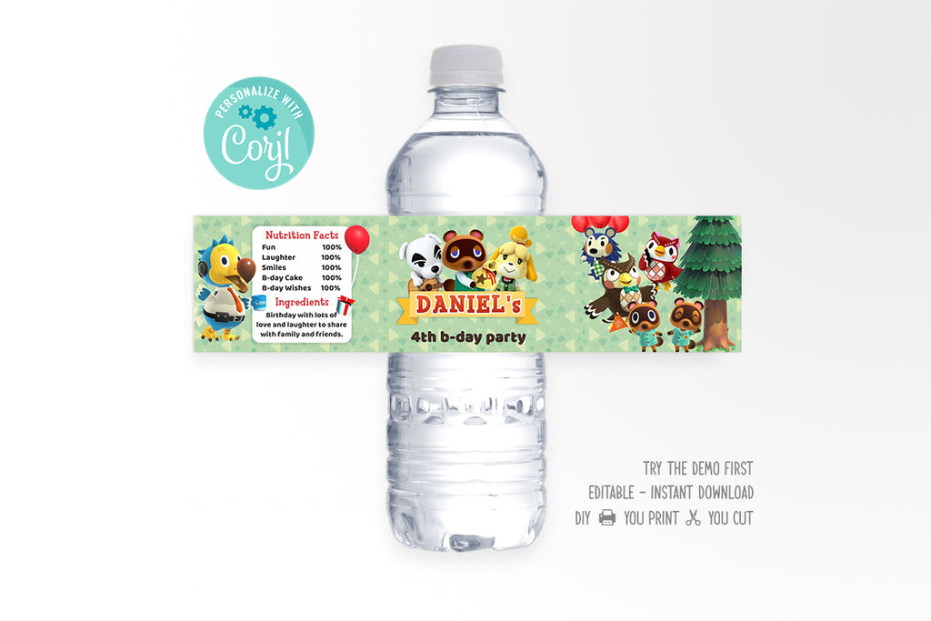 Animal Crossing Water Bottle Wrap - Print Me Pretty