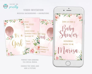 Baby Shower Video Invitation Rose Gold with Flowers - Print Me Pretty
