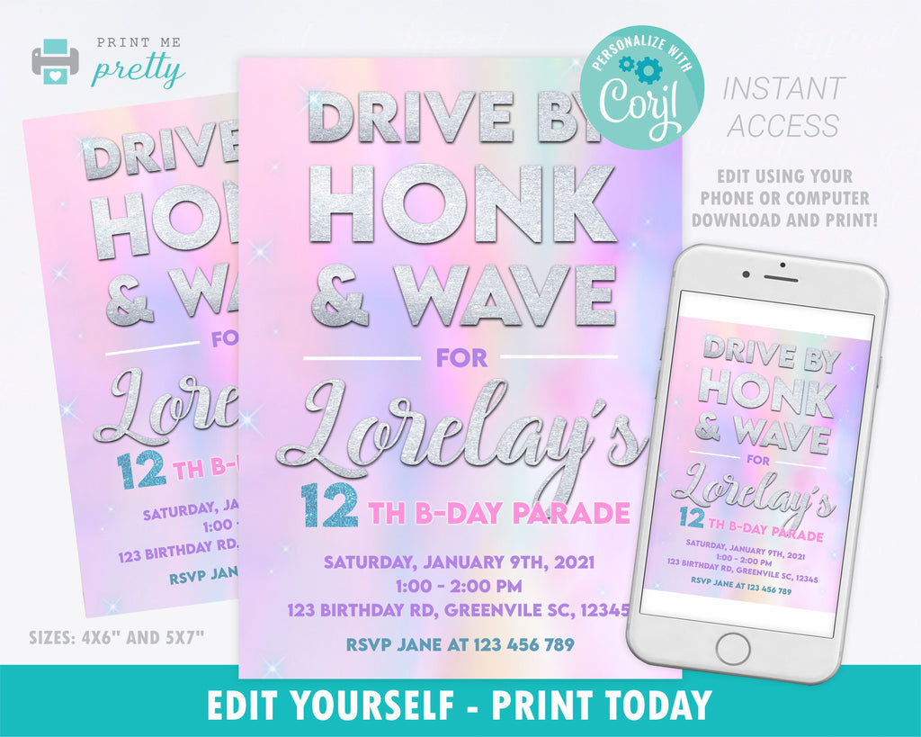 Birthday Parade Invitation Drive By for Girls Tie Dye - Print Me Pretty