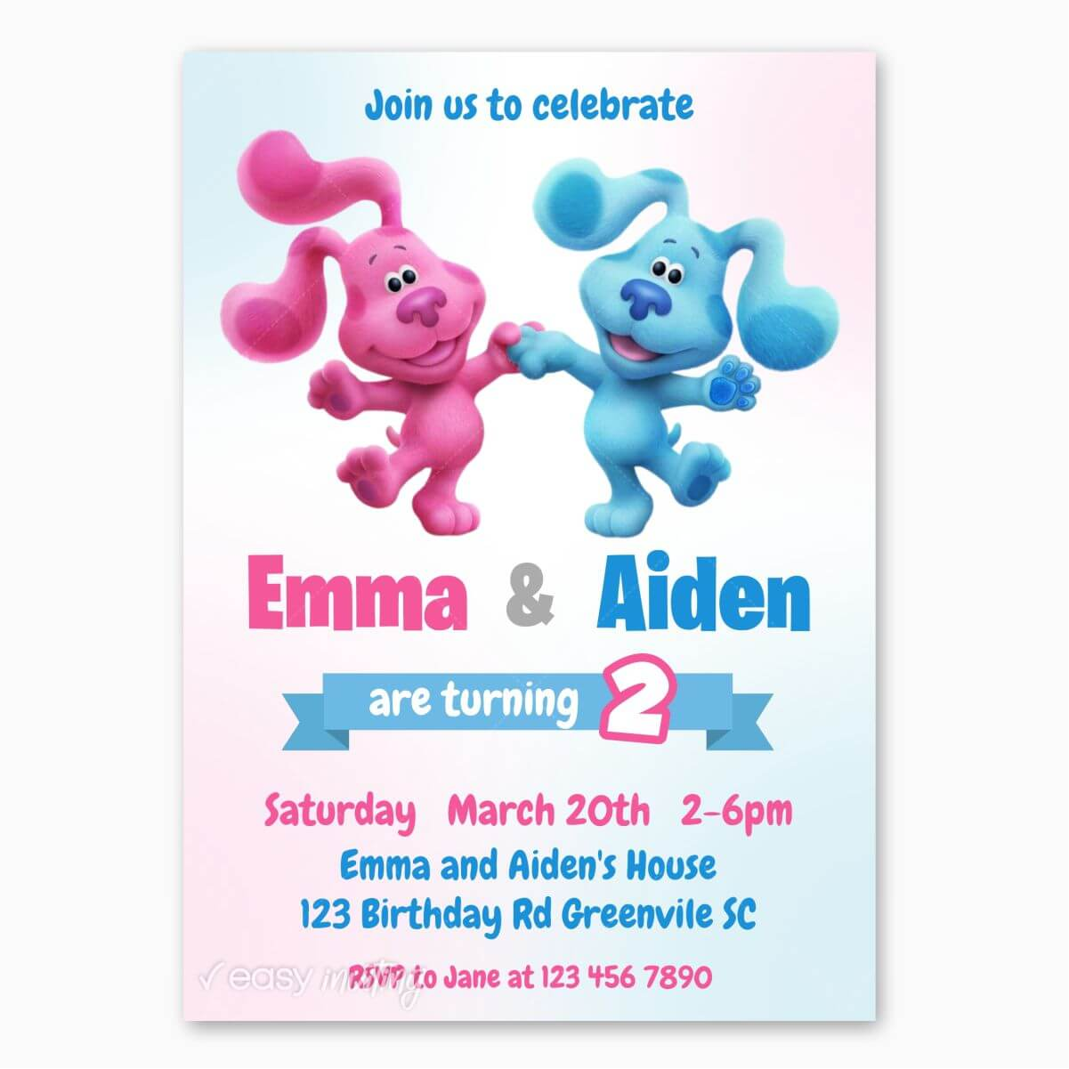 Blue S Clues Birthday Invitation For Twins Or Siblings Easy Inviting