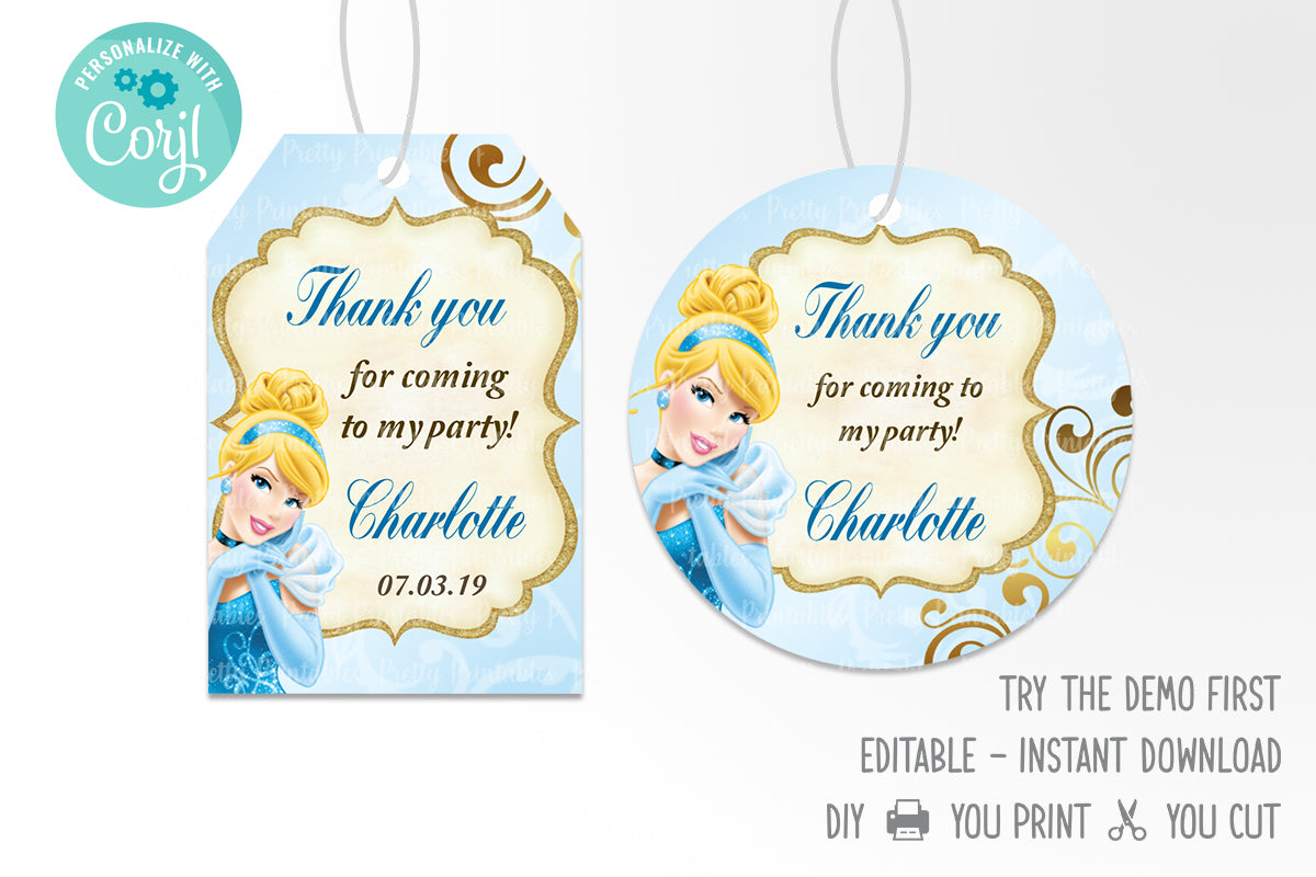 Cinderella Party Favor Tag Printable - Print Me Pretty