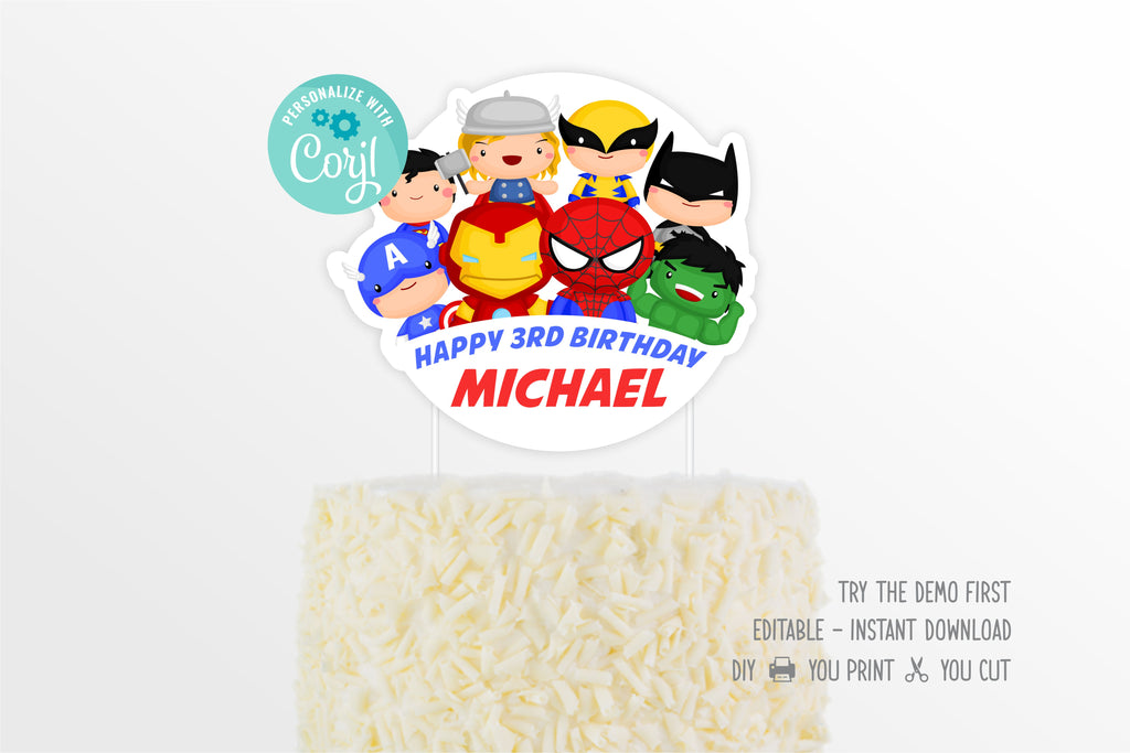 Cute Superheroes Cake Topper - Print Me Pretty