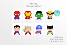 Load image into Gallery viewer, Cute Superheroes Flags Bunting Banner - Print Me Pretty