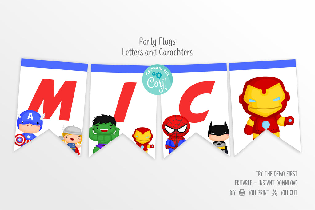 Cute Superheroes Flags Bunting Banner - Print Me Pretty