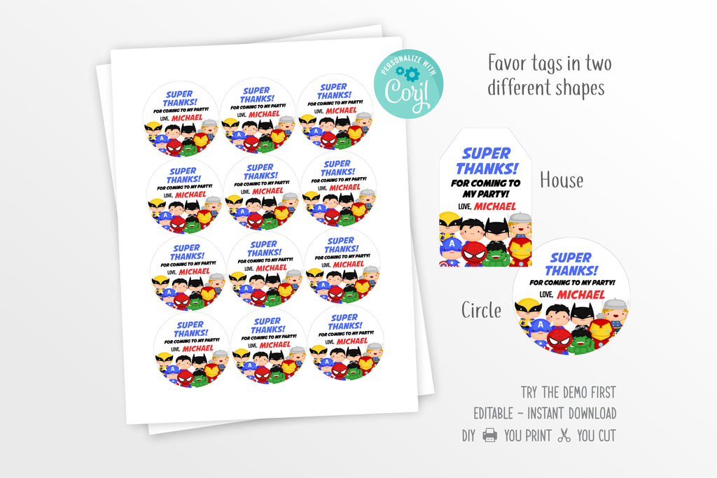 Cute Superheroes Party Favor Tag Printable - Print Me Pretty