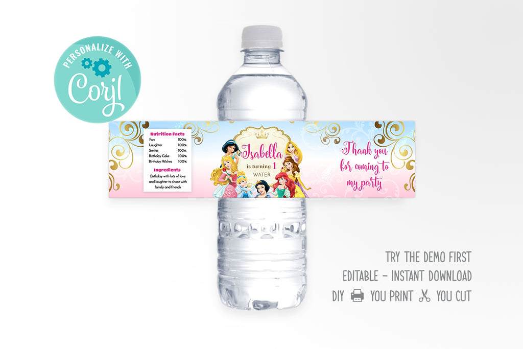 Disney Princess Water Bottle Label - Print Me Pretty