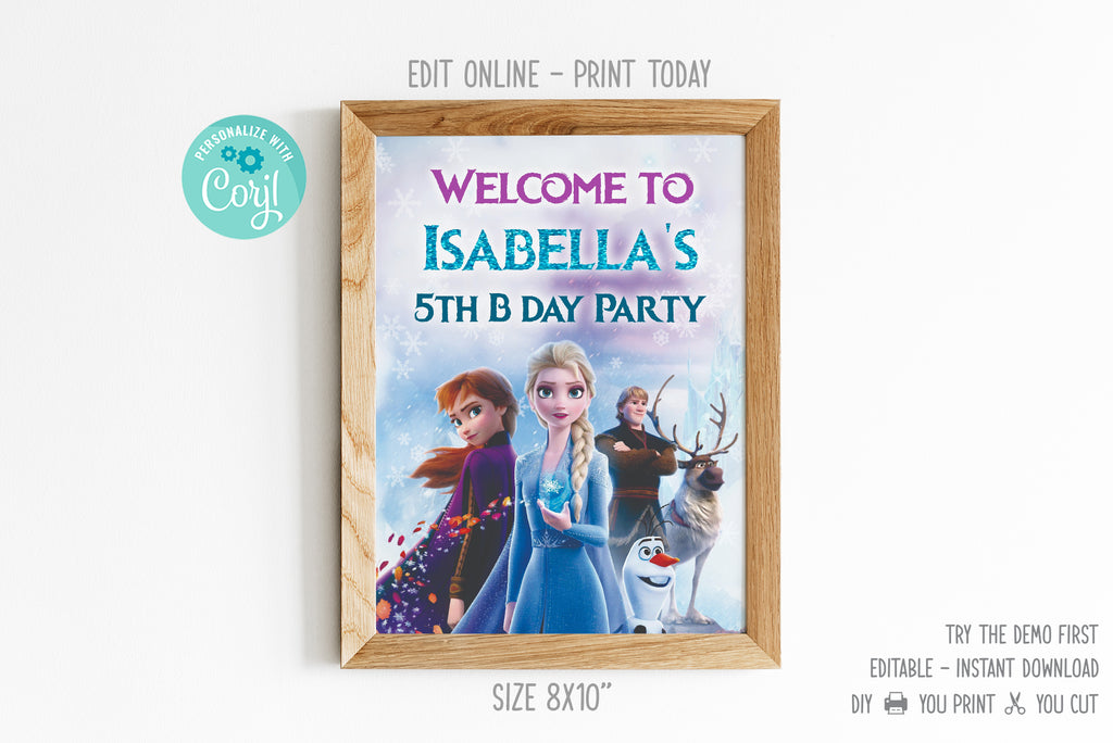 Frozen Welcome Banner Sign - Print Me Pretty