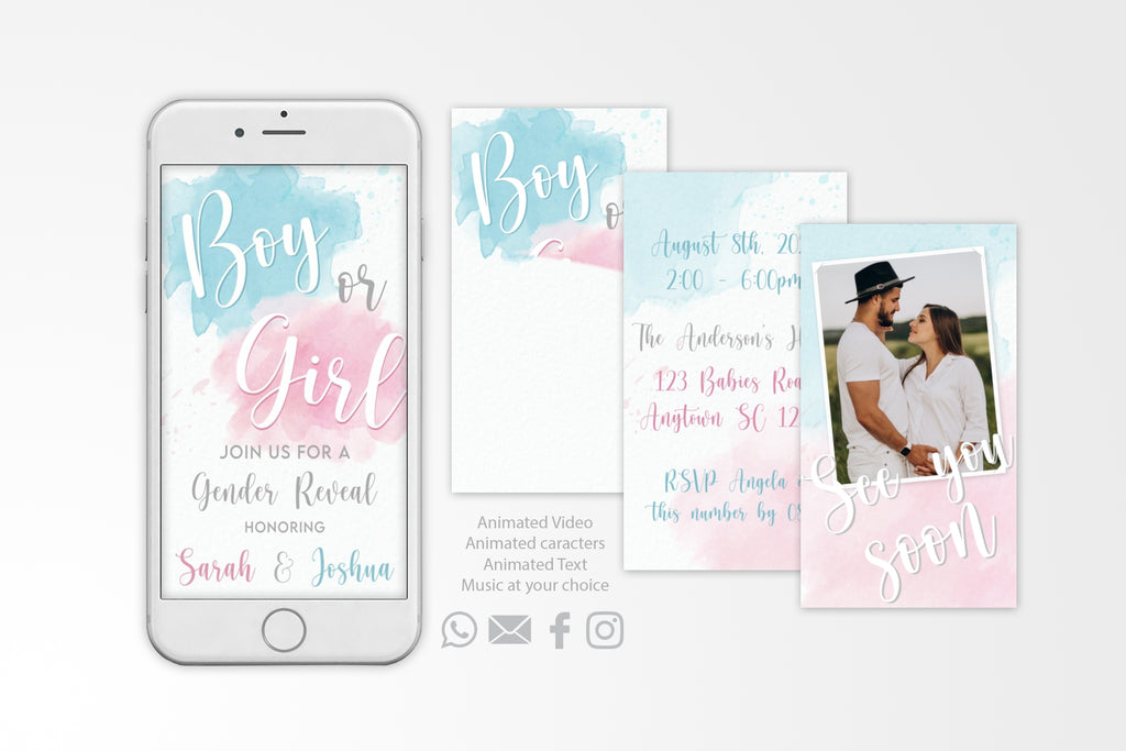 Gender Reveal Video Invitation Modern Watercolor - Print Me Pretty