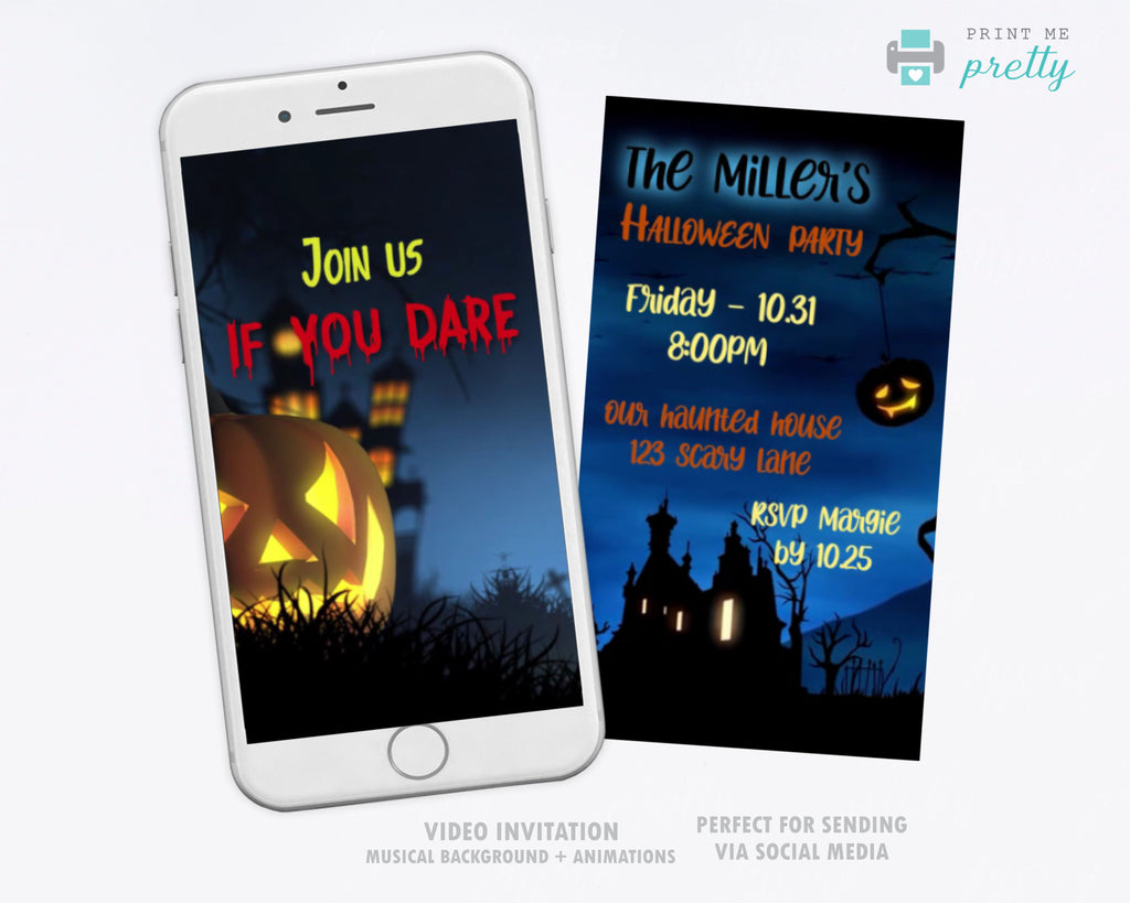 Halloween Party Video Invitation | Halloween phone Invitation - Print Me Pretty