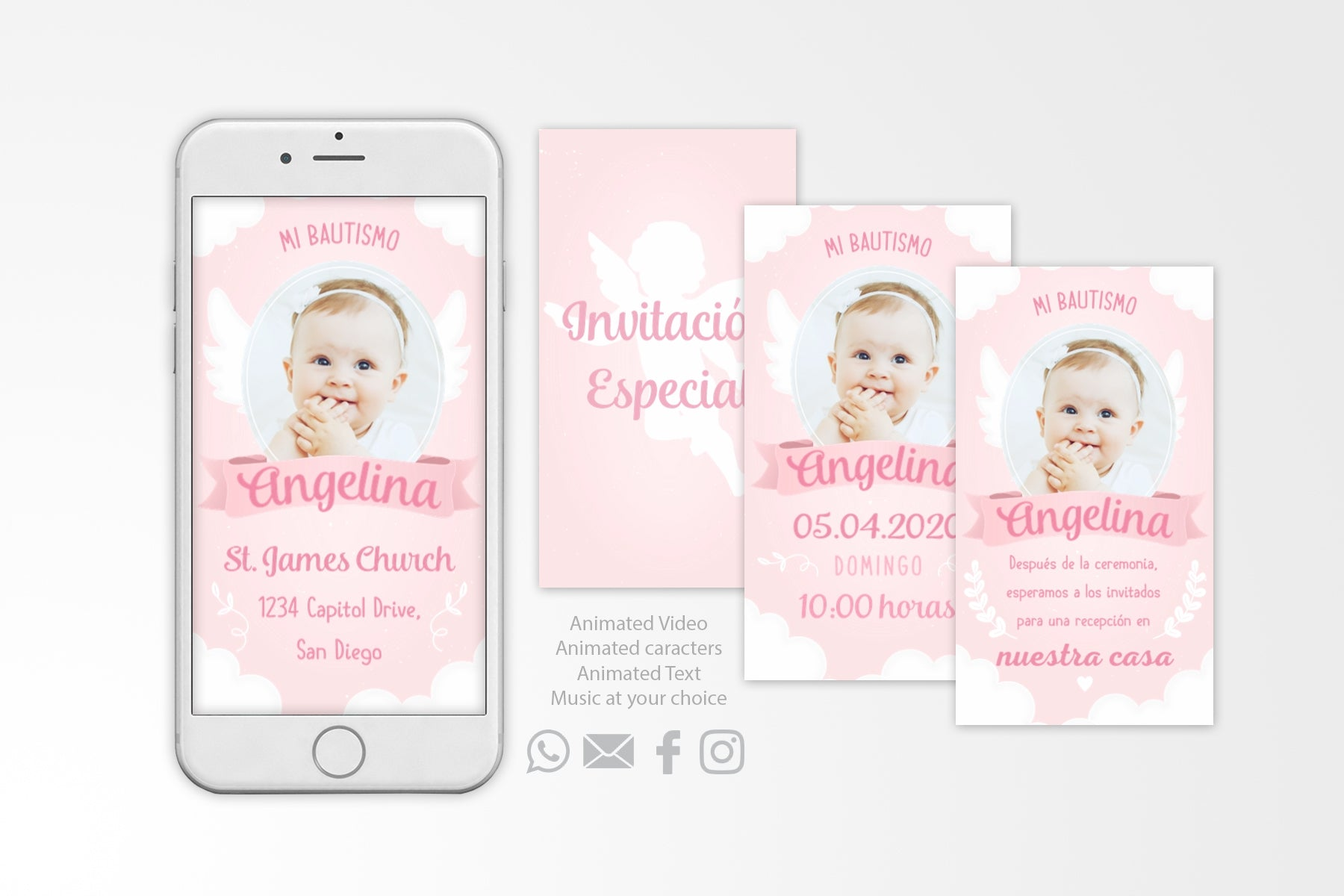 Invitación digital para Bautizado | Christening digital invitation - Print Me Pretty